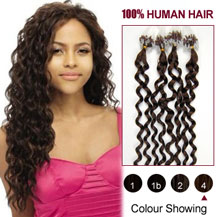 22 inches Medium Brown (#4) 100S Curly Micro Loop Human Hair Extensions