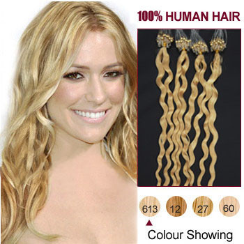18 inches Bleach Blonde (#613) 100S Curly Micro Loop Human Hair Extensions