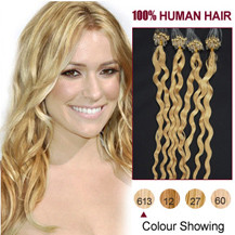 16 inches Bleach Blonde (#613) 50S Curly Micro Loop Human Hair Extensions