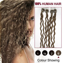 22 inches Light Brown (#6) 100S Curly Micro Loop Human Hair Extensions
