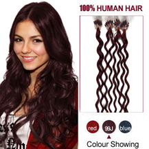 30 inches 99J 100S Curly Micro Loop Human Hair Extensions