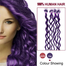 18 inches Lila 100S Curly Micro Loop Human Hair Extensions