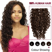 28 inches Medium Brown (#4) 7pcs Curly Clip In Indian Remy Hair Extensions