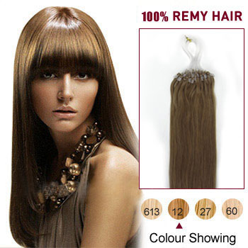 16 inches Golden Brown (#12) 50S Micro Loop Human Hair Extensions