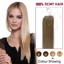 24 inches Golden Blonde (#16) 100S Micro Loop Human Hair Extensions