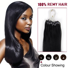 "20"" Jet Black (#1) 100S Micro Loop Human Hair Extensions"