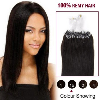 24 inches Natural Black (#1b) 100S Micro Loop Human Hair Extensions