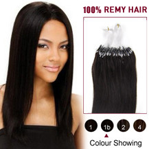 "16"" Natural Black (#1b) 100S Micro Loop Human Hair Extensions"