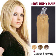 20 inches Ash Blonde (#24) 100S Micro Loop Human Hair Extensions