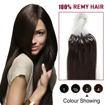 "16"" Dark Brown (#2) 100S Micro Loop Human Hair Extensions"