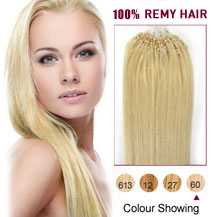 "16"" White Blonde (#60) 50S Micro Loop Human Hair Extensions"