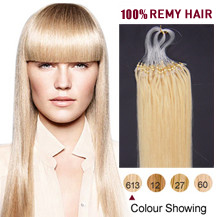 18 inches Bleach Blonde (#613) 100S Micro Loop Human Hair Extensions