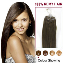 24 inches Ash Brown (#8) 100S Micro Loop Human Hair Extensions