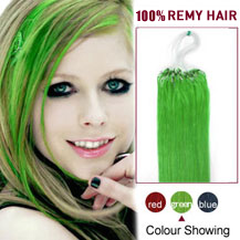 16 inches Green 50S Micro Loop Human Hair Extensions