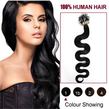 20 inches Jet Black (#1) 100S Wavy Micro Loop Human Hair Extensions