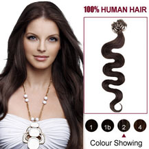 22 inches Dark Brown  (#2) 100S Wavy Micro Loop Human Hair Extensions