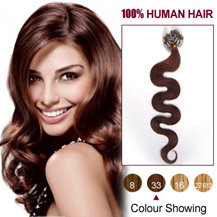20 inches Dark Auburn (#33) 100S Wavy Micro Loop Human Hair Extensions