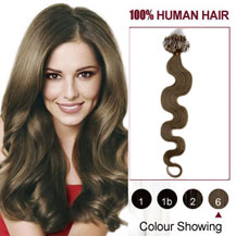 18 inches Light Brown (#6) 100S Wavy Micro Loop Human Hair Extensions