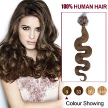 "24"" Ash Brown (#8) 100S Wavy Micro Loop Human Hair Extensions"