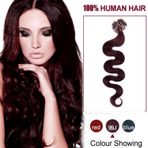 30 inches 99J 100S Wavy Micro Loop Human Hair Extensions