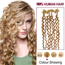 "16"" Golden Brown (#12) 100S Curly Nail Tip Human Hair Extensions"