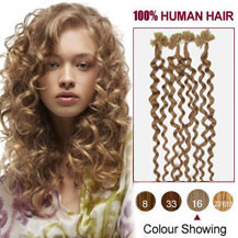 26 inches Golden Blonde (#16) 100S Curly Nail Tip Human Hair Extensions