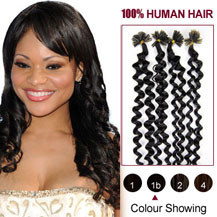 16 inches Natural Black (#1b) 100S Curly Nail Tip Human Hair Extensions