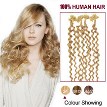 16 inches Ash Blonde (#24) 100S Curly Nail Tip Human Hair Extensions