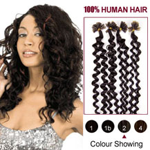 16 inches Dark Brown (#2) 100S Curly Nail Tip Human Hair Extensions