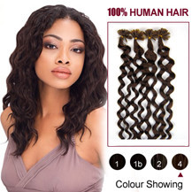 26 inches Medium Brown (#4) 100S Curly Nail Tip Human Hair Extensions