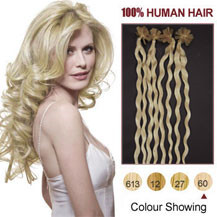 18 inches White Blonde (#60) 100S Curly Nail Tip Human Hair Extensions