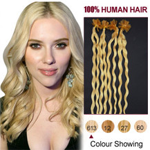 30 inches Bleach Blonde (#613) 100S Curly Nail Tip Human Hair Extensions