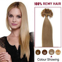 20 inches Golden Blonde (#16) 100S Nail Tip Human Hair Extensions
