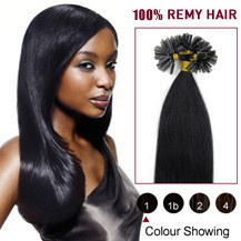 26 inches Jet Black (#1) 100S Nail Tip Human Hair Extensions