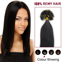 "16"" Natural Black (#1b) 100S Nail Tip Human Hair Extensions"