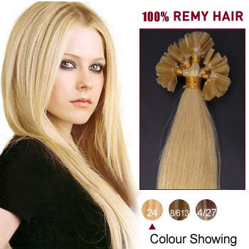 18 inches Ash Blonde (#24) 50S Nail Tip Human Hair Extensions