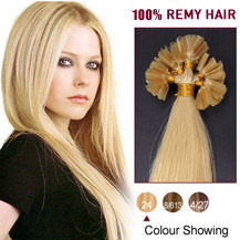20 inches Ash Blonde (#24) 100S Nail Tip Human Hair Extensions