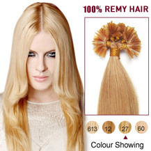"16"" Strawberry Blonde (#27) 100S Nail Tip Human Human Hair Extensions"