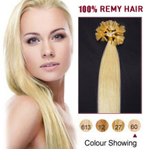 "16"" White Blonde (#60) 100S Nail Tip Human Hair Extensions"