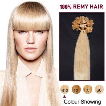 16 inches Bleach Blonde (#613) 100S Nail Tip Human Hair Extensions