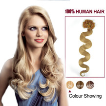 16 inches Ash Blonde (#24) 100S Wavy Nail Tip Human Hair Extensions