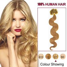 16 inches Strawberry Blonde (#27) 100S Wavy Nail Tip Human Hair Extensions