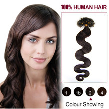 "18"" Dark Brown (#2) 50S Wavy Nail Tip Human Hair Extensions"