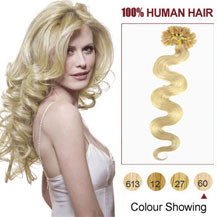 20 inches White Blonde (#60) 100S Wavy Nail Tip Human Hair Extensions