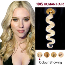 20 inches Bleach Blonde (#613) 100S Wavy Nail Tip Human Hair Extensions
