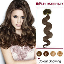 "22"" Ash Brown (#8) 100S Wavy Nail Tip Human Hair Extensions"