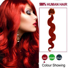 18 inches Red 100S Wavy Nail Tip Human Hair Extensions