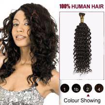 "20"" Dark Brown(#2) Curly Nano Ring Hair Extensions"