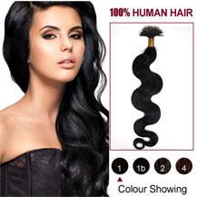 "20"" Jet Black(#1) Wavy Nano Ring Human Hair Extensions"