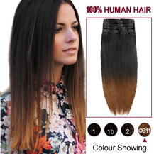 "16"" Two Colors #2 And #10 Straight Ombre Indian Remy Clip In Hair Extensions"
